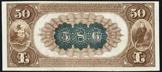 1882 \$50 Brown Back - Back