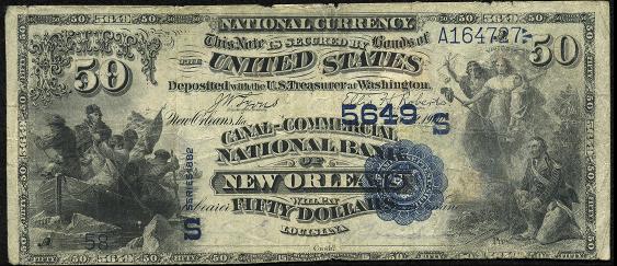 1882 \$50 Value Back - Front