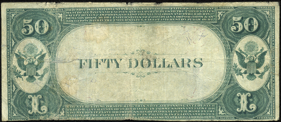 1882 \$50 Value Back - Back