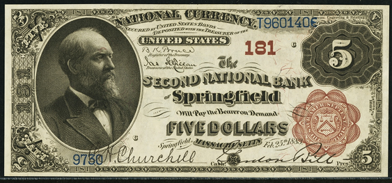 1882 $5 Brown Back - Front