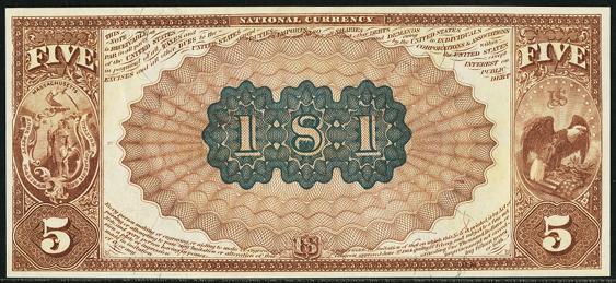 1882 \$5 Brown Back - Back