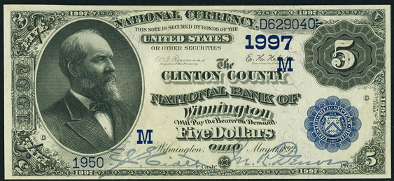 1882 $5 Date Back - Front