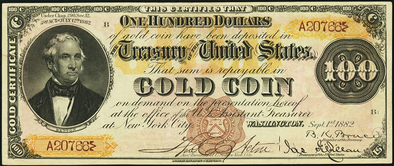 1882 One Hundred Dollar Gold Certificates Countersigned