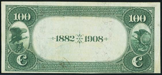 1882 \$100 Date Back - Back