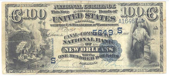 1882 \$100 Value Back - Front