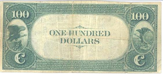 1882 \$100 Value Back - Back