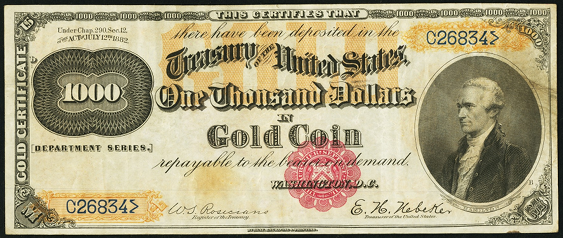 1882 One Thousand Dollar Gold Certificate