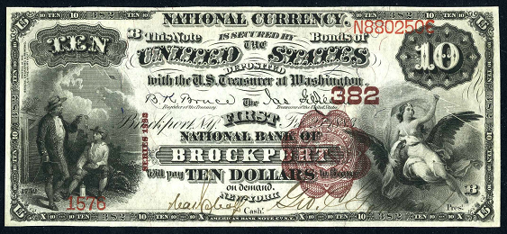 1882 $10 Brown Back - Front