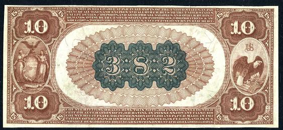 1882 \$10 Brown Back - Back
