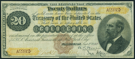 1882 Twenty Dollar Gold Certificates Countersigned