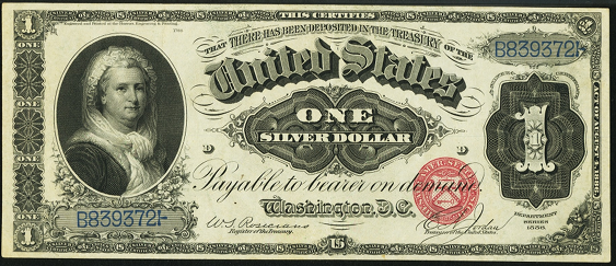 1886 One Dollar Silver Certificate
