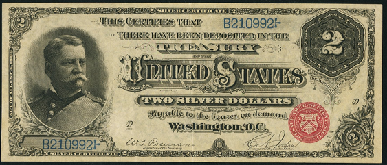 1886 Two Dollar Silver Certificate