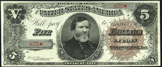 1890 Five Dollar Treasury Note Or Coin Note
