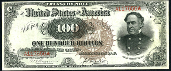 1890 One Hundred Dollar Treasury Note Or Coin Note