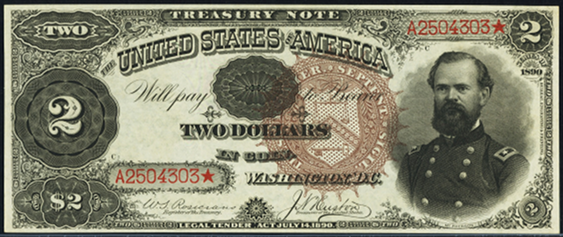 1890 Two Dollar Treasury Note Or Coin Note