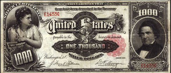 1891 One Thousand Dollar Silver Certificate