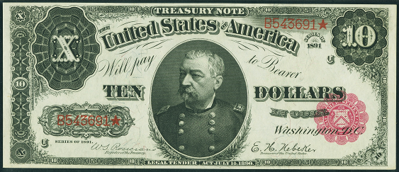 1891 Ten Dollar Treasury Note Or Coin Note