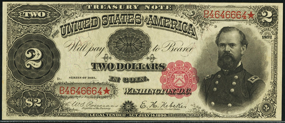 1891 Two Dollar Treasury Note Or Coin Note
