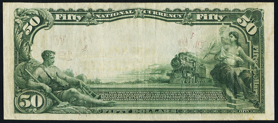 1902 \$50 Red Seal - Back