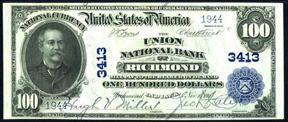 1902 \$100 Plain Back - Front
