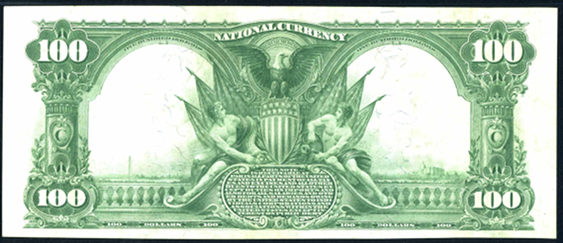 1902 \$100 Plain Back - Back