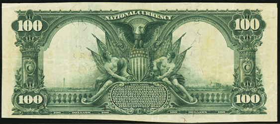 1902 \$100 Red Seal - Back