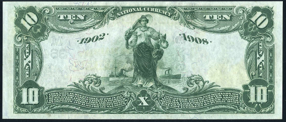 1902 $10 Date Back - Back
