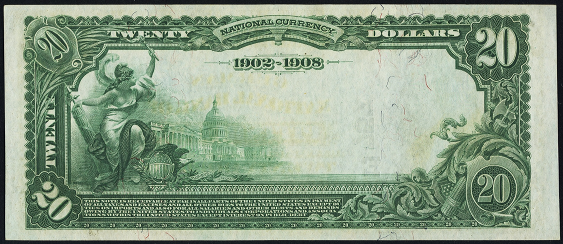 1902 \$20 Date Back - Back