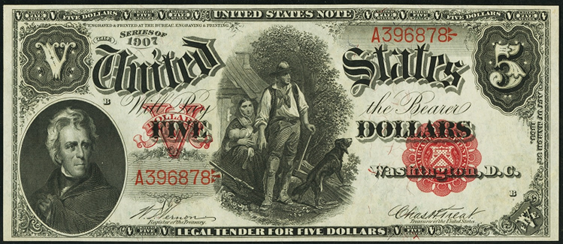 1907 Five Dollar Legal Tender Or United States Note