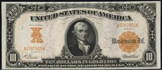 1907 Ten Dollar Gold Certificate