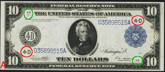 1914 Ten Dollar Federal Reserve Notes Blue Seal A