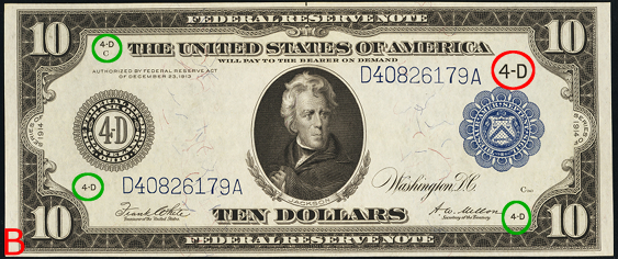 1914 Ten Dollar Federal Reserve Notes Blue Seal B