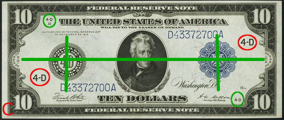 1914 Ten Dollar Federal Reserve Notes Blue Seal C