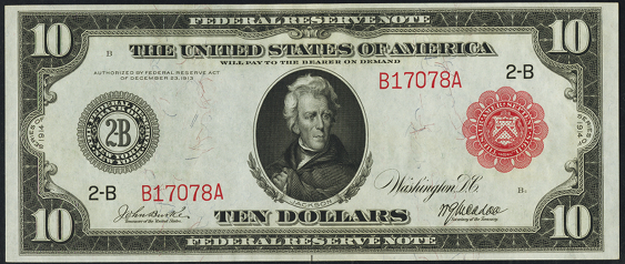 1914 Ten Dollar Federal Reserve Notes Red Seal A