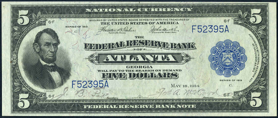 1915 Five Dollar Federal Reserve Bank Note