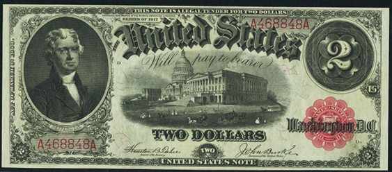 1917 Two Dollar Legal Tender Or United States Note
