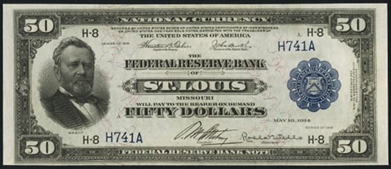 1918 Fifty Dollar Federal Reserve Bank Note