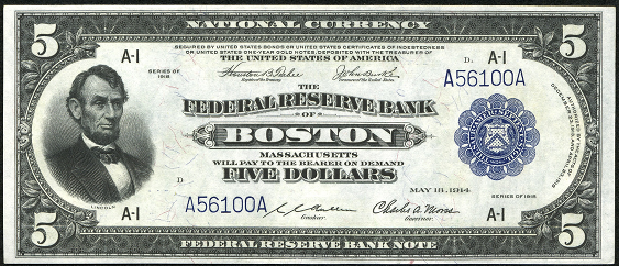 1918 Five Dollar Federal Reserve Bank Note