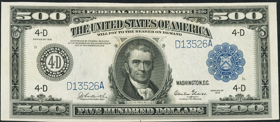 1918 Five Hundred Dollar Federal Reserve Notes A