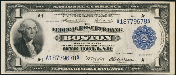 1918 One Dollar Federal Reserve Bank Note