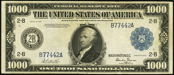 1918 One Thousand Dollar Federal Reserve Notes A