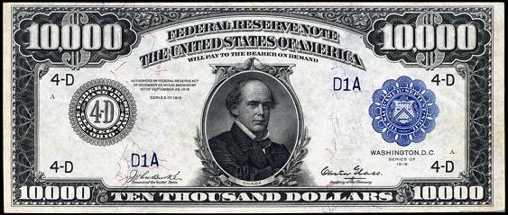 1918 Ten Thousand Dollar Federal Reserve Notes A