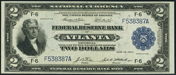 1918 Two Dollar Federal Reserve Bank Note