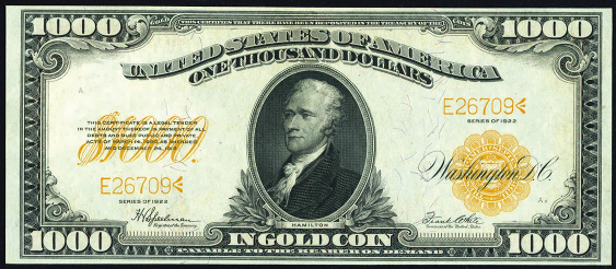1922 One Thousand Dollar Gold Certificate