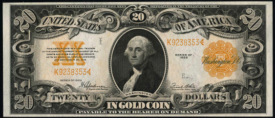 1922 Twenty Dollar Gold Certificate