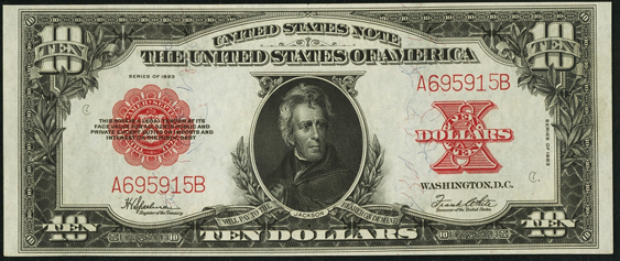 1923 Ten Dollar Legal Tender Or United States Note