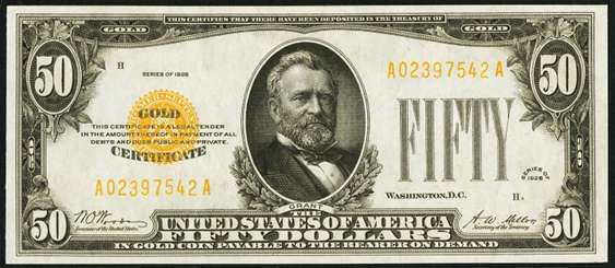 1928 Fifty Dollar Gold Certificate