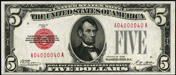 1928 Five Dollar Legal Tender Or United States Note