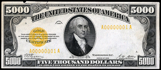 1928 Five Thousand Dollar Gold Certificate