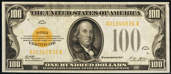 1928 One Hundred Dollar Gold Certificate